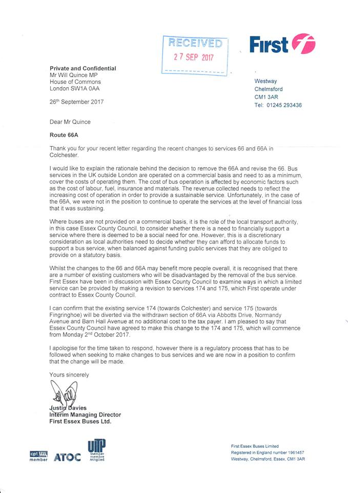 Letter regarding the 66A bus service